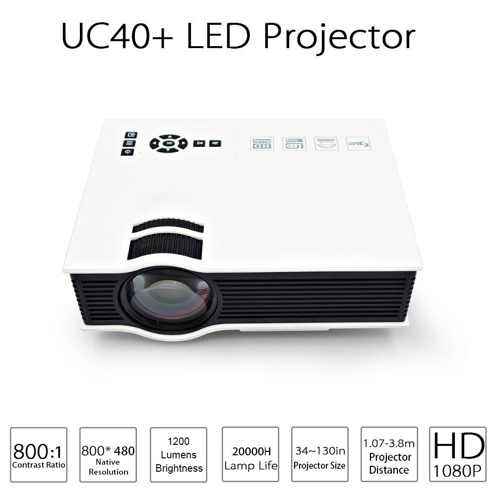 Projecteur de projecteur LED UC40 Plus 1200 lumens projecteur de cinéma maison pas cher avec prise en charge HDMI AV SD VGA Full HD 1080 P