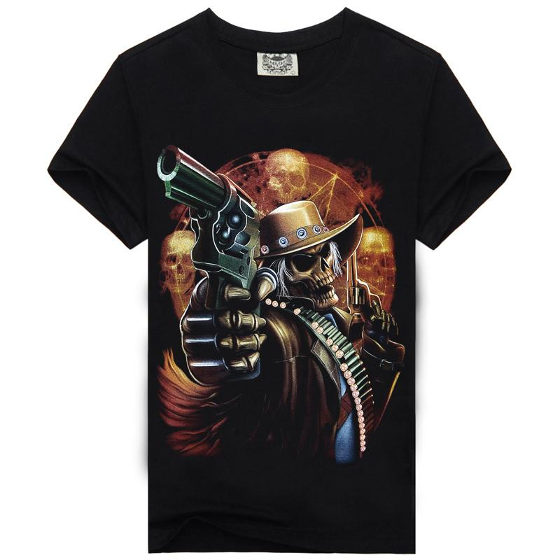 [Mannen been] rock skeleton zangeres t-shirt motorrijders bar man Black Tshirt heavy metal death pak mode 3 d t-shirt