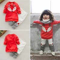 CHAMSGEND 2017 Orange Toddler Baby Boy Girl Fox Long Sleeve Sweatershirt Top Pants Outfits Set Clothes