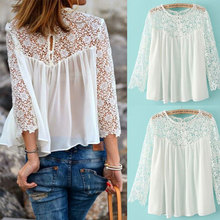 New Women Lace Blouse Shirt Nice Fashion Loose Chiffon Lace Patchwork Blouses Pops Casual Long Sleeve Cute Women Blusas Pop