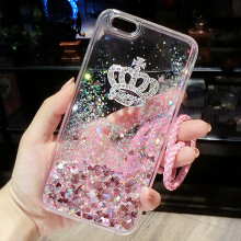 Cases For Huawei P10 Lite P10 plus Phone Case Crown Glitter Liquid Soft TPU Cases for Huawei P20 Lite Plus Fundas Back Covers(China)
