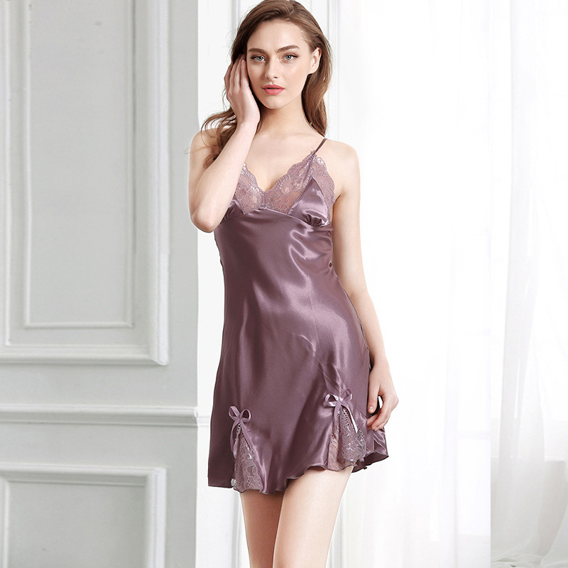 0c46a34634 Women s Sleepwear female Sleeveless Sleepdress Sexy ladies Lace Silk  Nightgown Girls Short Mini Lingerie Night Dress summer Hot-in Babydolls    Chemises from ...