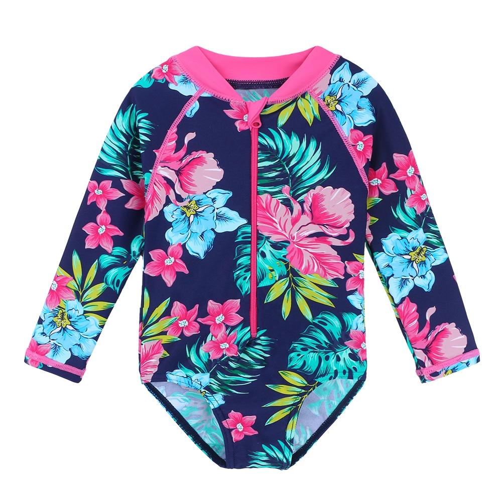 BAOHULU Navy Floral Baby Swimwear Long Sleeve UPF50+ Girls' Swimsuit One Piece Children Swimwear Toddler Bathing Suit Beachwear