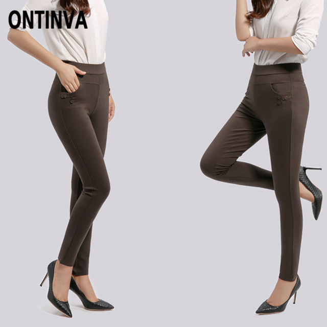 2dfc0515f30 New High Waist Pencil Pants Women s Plus Size 4XL 3XL Thick Legging Pants  Solid Color Pocket Elastic Skinny Slim Khaki Trousers
