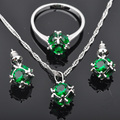Round Green Cubic Zirconia For Women Silver Jewelry Sets Earrings/Pendant/Necklace/Rings Free Shipping JS0114