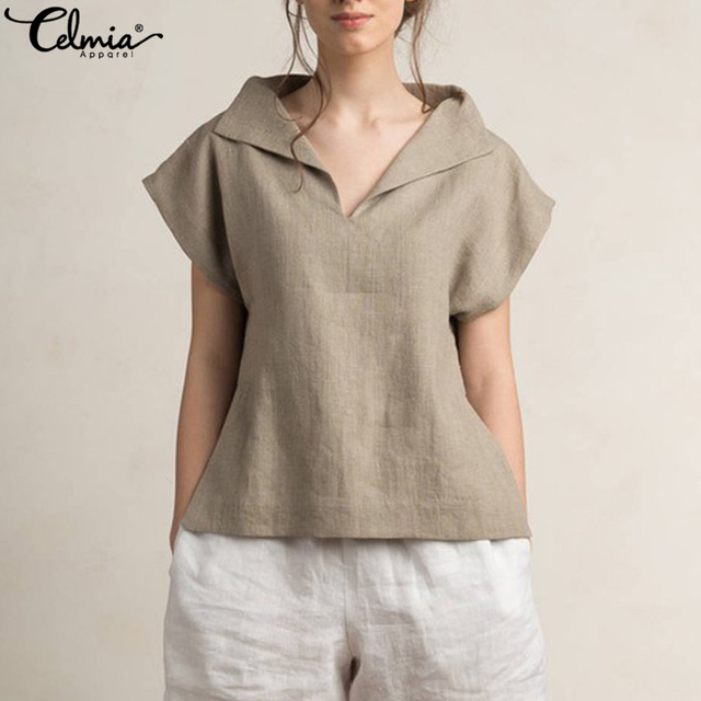 Celmia 2018 Women Tops Short Sleeve V Neck Cotton Linen Tunic Top Ladies  Casual Solid Tops Baggy Loose Office Blouse Plus Size