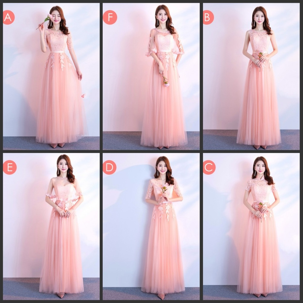 Elegant Lace A Line Pink Bridemaid Dresses 2019 Long Formal Wedding Party Prom Reflective Dress Robe De Soiree Vestido De Noiva