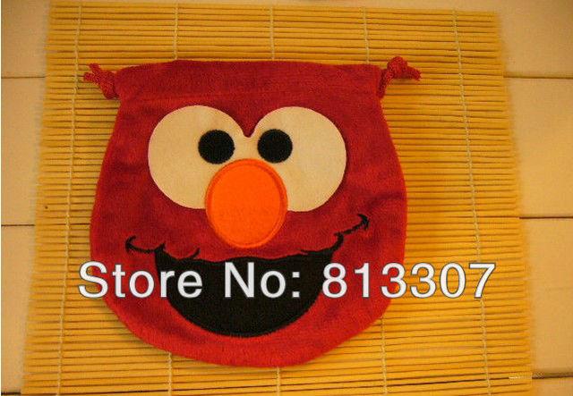 Free Shipping 10/Lot Elmo Sesame Street Drawstring Bag Coin Purse Plush Wholesale