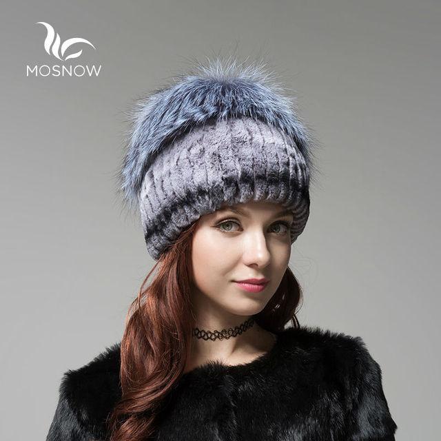 MOSNOW Novos Chapéus das Mulheres de Inverno Mulher de Pele de Coelho Rex Com Fox Pompons Gorros Sólida Malha Tampas de Inverno Moda Feminina