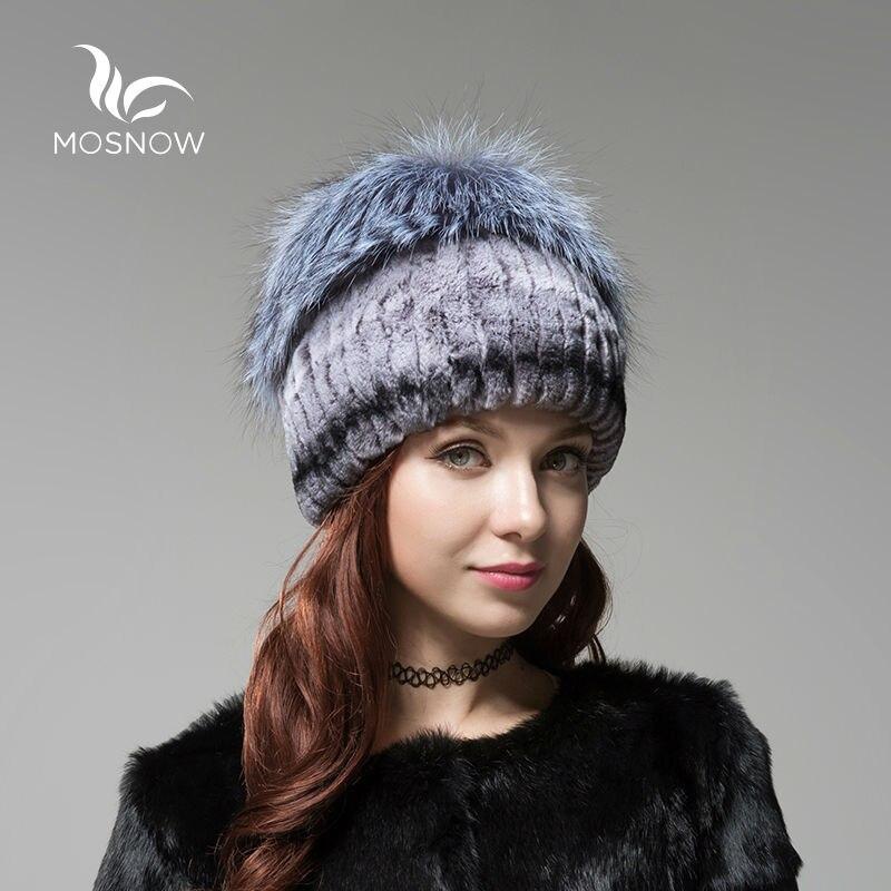 Nové zimní dámské čepice žena Rex králičí kožešina s liškami Pompons Pletená pevná móda Zimní čepice Dámská čepice Bonnet