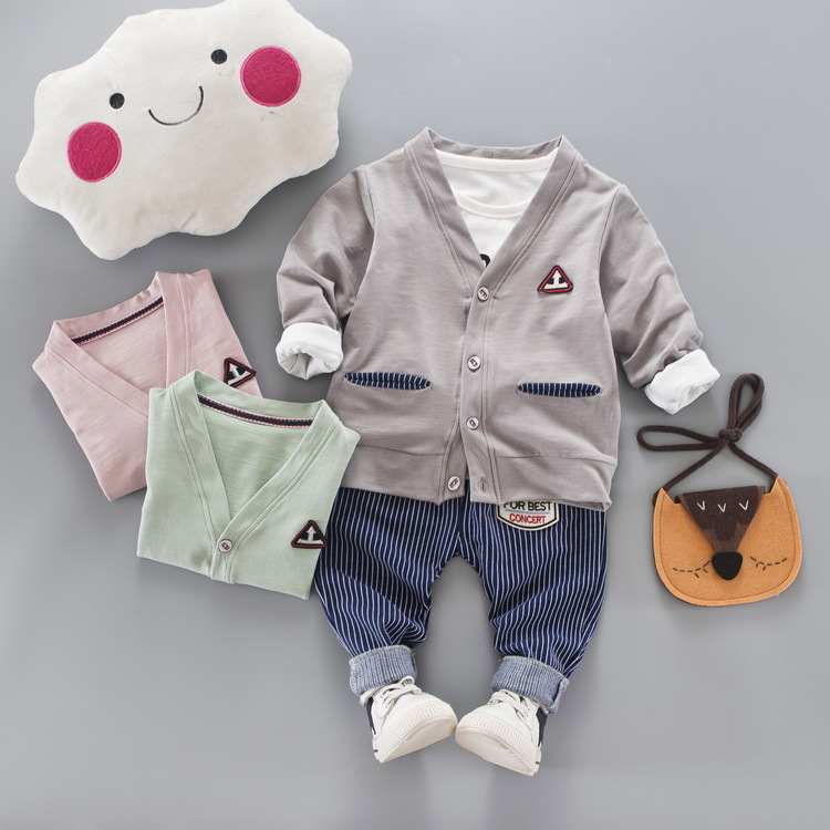 JIOROMY Children s Clothing Autumn 2017 New Korean Young Children S Cotton Cardigan +striped +jeans 3 Pieces Kids Clothes Suit
