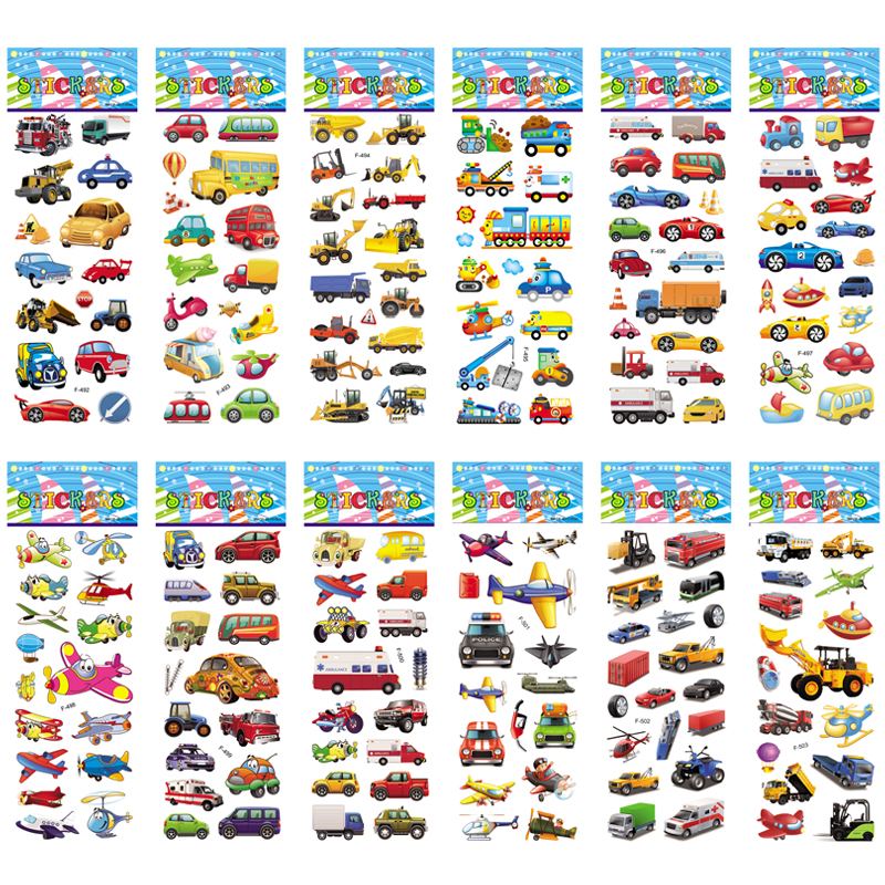 12 Different Sheets Cartoon Car Sticker 3D Stickers Toys Airplane Vehicles For Children Diary Notebook Decoration Gifts