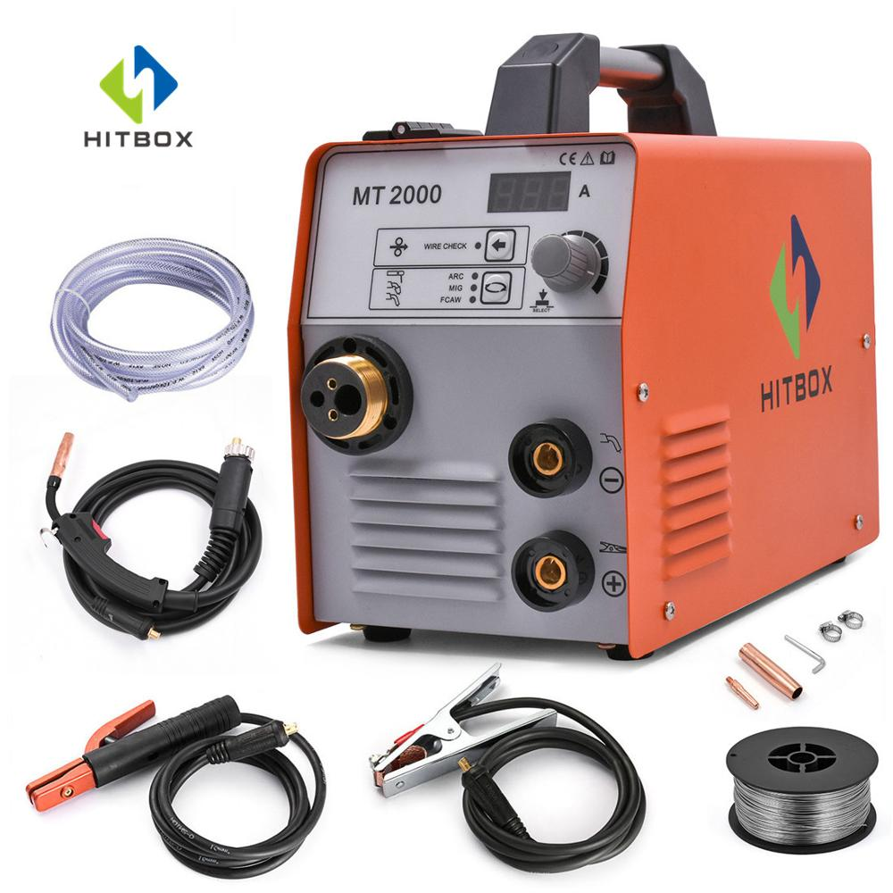 HITBOX Mig Welder MIG ARC TIG 220V Stainless Steel Iron Welding Machine MT2000 Mini Functional MIG 3 In 1 Gas Gasless MAG
