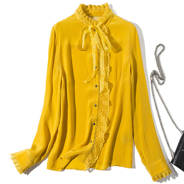 Yellow Red Black Blouse 2019 Spring Summer High Quality Shirt Women Lace Patchwork Ribbon Bow Blouse Ladies Solid Shirt Blusa