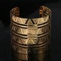 Lemon Value Vintage Punk Hollow Out Bangles Fashion Charms Gold Plated Wide Bracelet Women Jewelry Femme Pulseras G016
