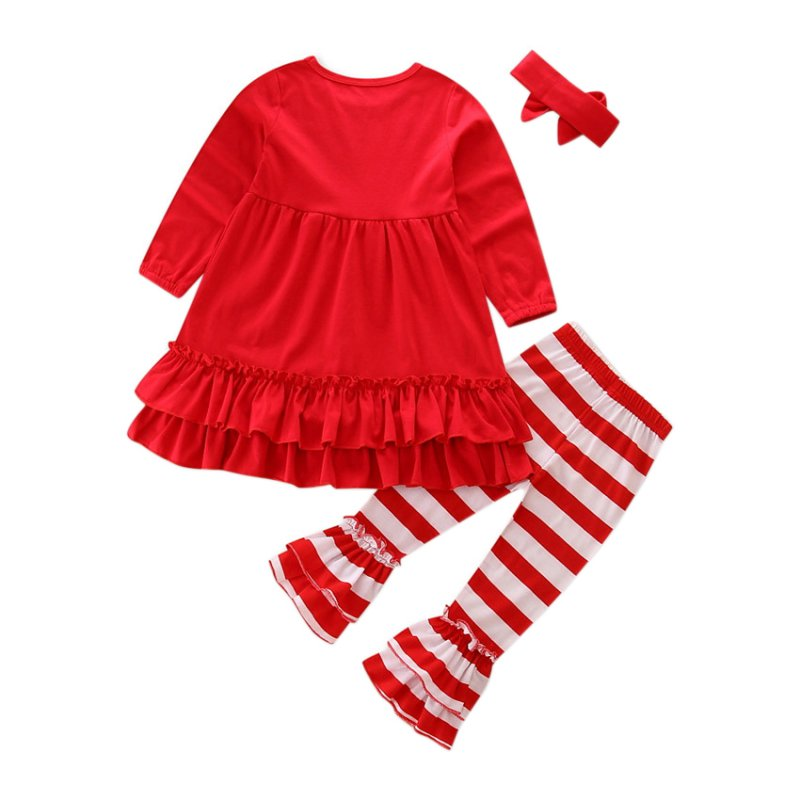 1pc Hair Band+1pc Shirts+1pc Pants Childrens Clothing Set Girls Clothes Suits Red Long sleeve cute suit