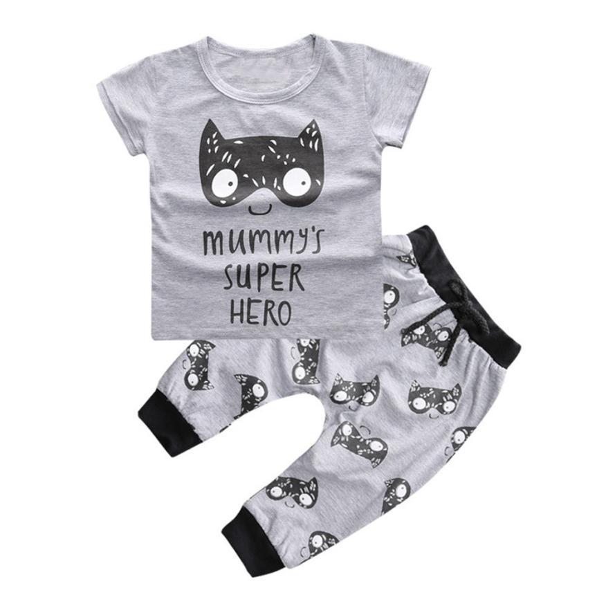 安い幼児服幼児男の子女の子プリントtシャツトップス+パンツ服セット子供服