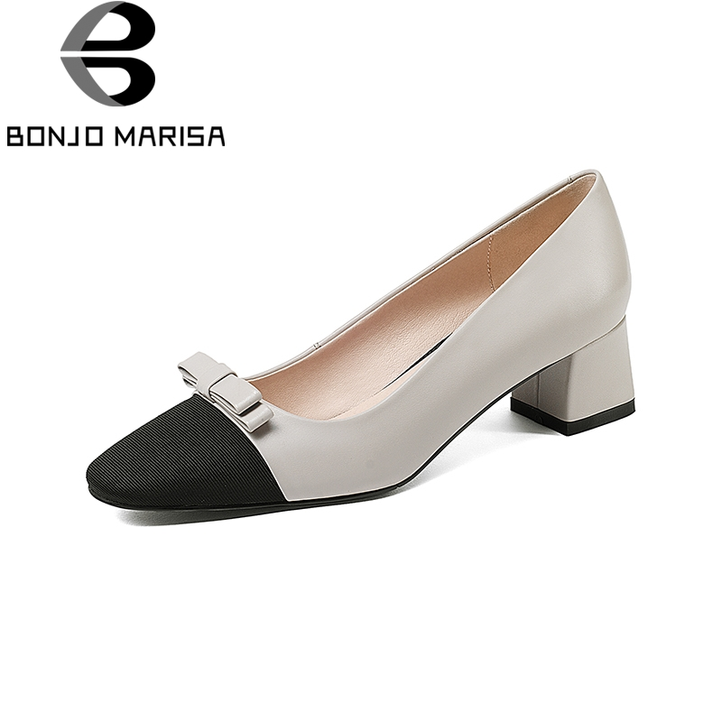 BONJOMARISA 2018 Genuine Leather New Large Size 33-40 Slip On Women Shoes Pointed Toe Chunky Heels Bowtie Shoes Woman Pumps bonjomarisa 2018 genuine leather chunky low heels peep toe slip on women shoes woman casual mules shoes pumps big size 34 39