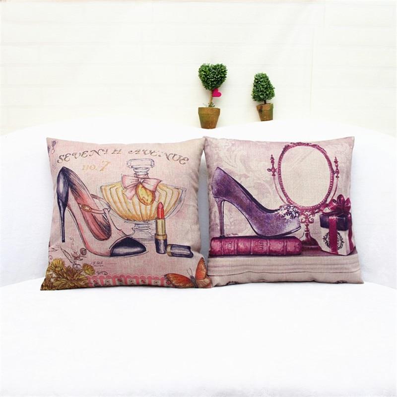 45cmx45cm Home Decorative High heeled shoes Printed