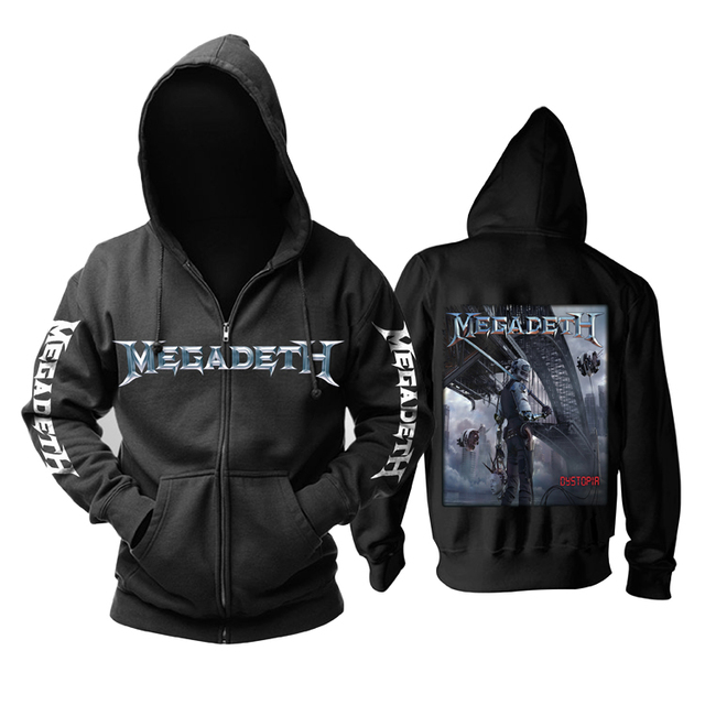 20 Designs Megadeth Rock Black Hoodies Shell Jacket Thrash Metal Sweatshirt 3D Skull Bone Sudadera Zipper