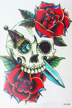 Body Art Beauty Makeup Pink Sexy Dangerous Skull With Rose Tattoo 4D Waterproof Temporary Tattoo Stickers