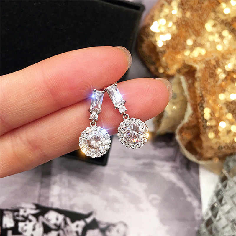 1 Pair Fashion Round Crystal Drop Earrings for Women Shiny Statement Earings Silver Party Earring Fashion Jewelry Accessories