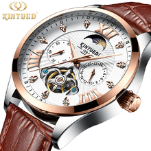 KINYUED Chronograph Fashion Brand Watch Men Automatic Mechanical Luxury Skeleton Watches Moon Phase Male Hand Wristwatches 2019 kinyued creative automatic men watches 2018 luxury brand moon phase mens mechanical watch skeleton rose gold horloges mannen