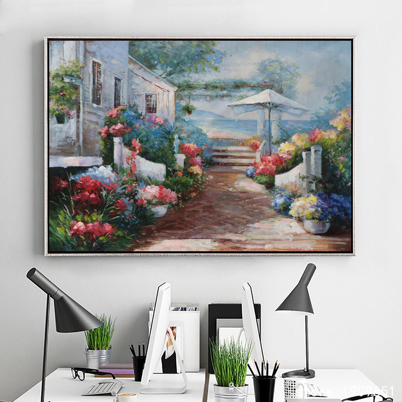 Cotton No Frame Mediterranean House Garden Scenery Canvas Printings Oil Painting Printed On Cotton Wall Art Decoration Pictures