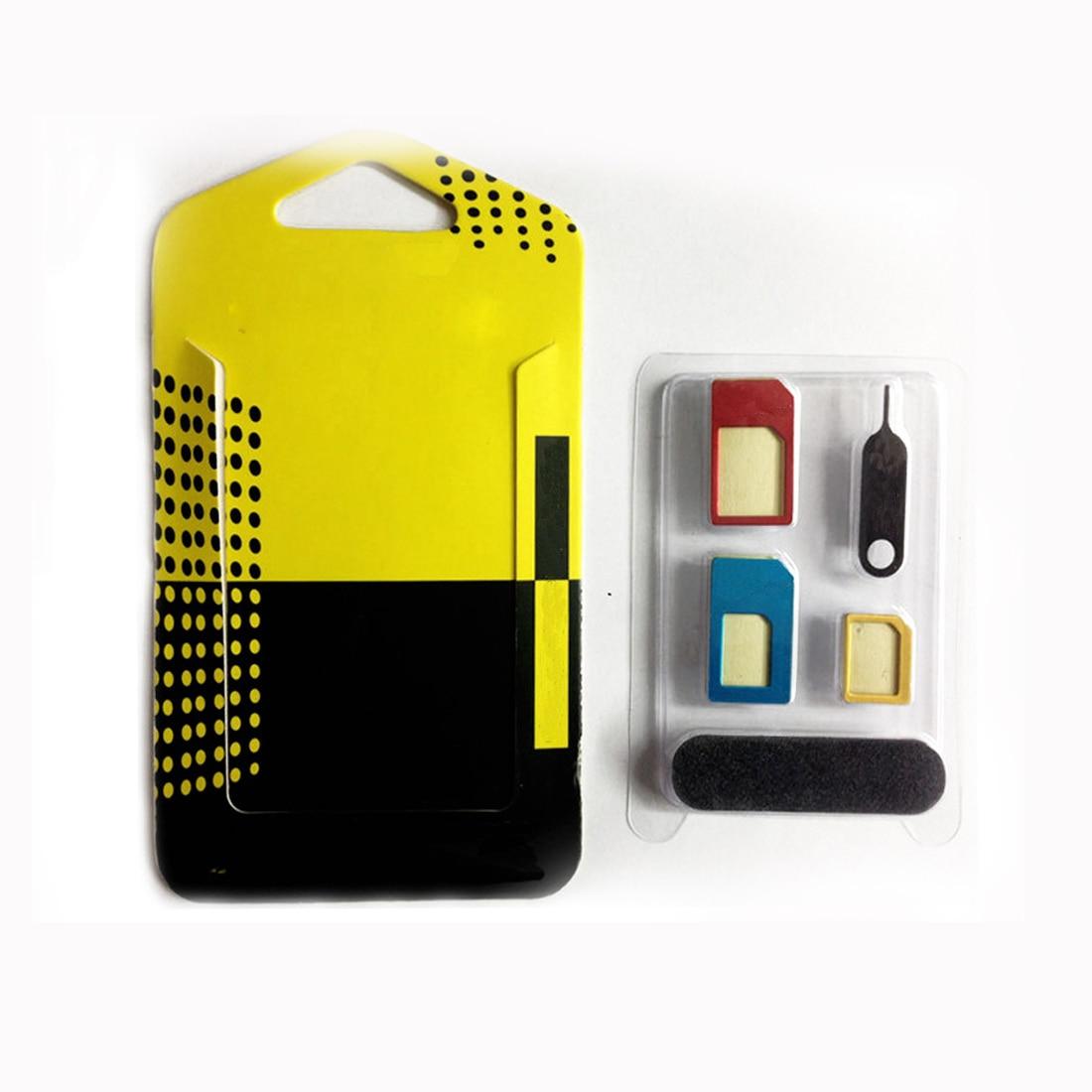 Etmakit 5 ב 1 ננו כרטיס סים מתאמים + רגיל ומייקרו Sim + תקן כרטיס ה-SIM & 5S 4S כלים עבור iPhone 4 5 5c 6 6 s תיבה הקמעונאי