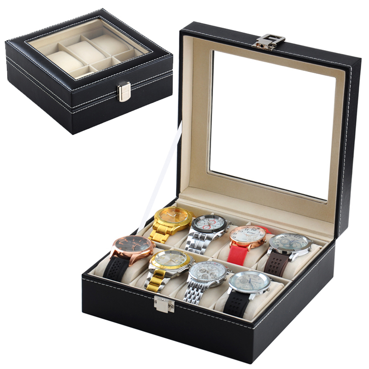 Free Shipping 8 Slots Watches Case Black Top Watch Display Box Fashion Watch Storage And Bracelet Boxes Organizer Dolder W167 spark storage bag portable carrying case storage box for spark drone accessories can put remote control battery and other parts
