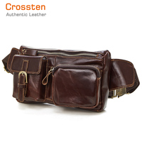 100% Genuine leather waist Pack men Retro coin purse belt bag Bum fanny pack Pouch Bag for large screen smartphone