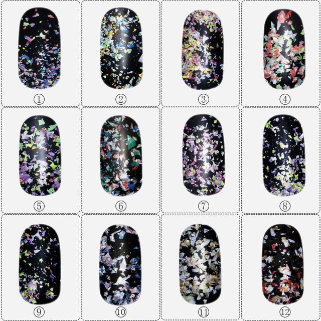 12boxes/set Summer Mixed Colors Irregular Thin Snow Flower 3D Nail Art Decor Sequin DIY Sea Nail Glitter Styles Charm Flake