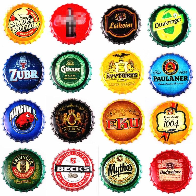 35 CM Beer Bottle Cap Retro Placa Placa de Metal Da Lata Sinais Bar Café Pub Decoração Da Parede Do Vintage Saudade Placas Redondas cartaz da arte
