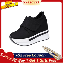 Koznoy Brand 2018 Black Red Platform Shoes Hidden Heel Thick Sole Slip On Sneakers Creepers Wedge Slipony Ladies For Women