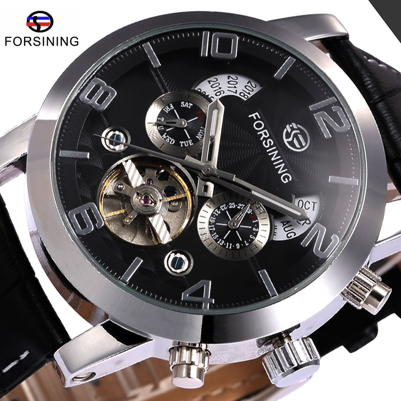 FORSINING Brand Multifunction Mechanical Watch Date Day Leather Strap Male Clock Men Dress Wrist Automatic Self Wind Watch цены