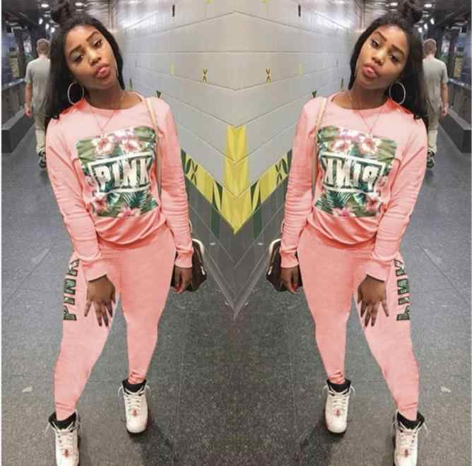 Floral Cetak Lengan Panjang Musim Dingin Pakaian Latihan Yg Hangat Wanita Set Overall Sweatshirt + Celana Wanita Fashion Seksi Dua Potong Pakaian Kasual