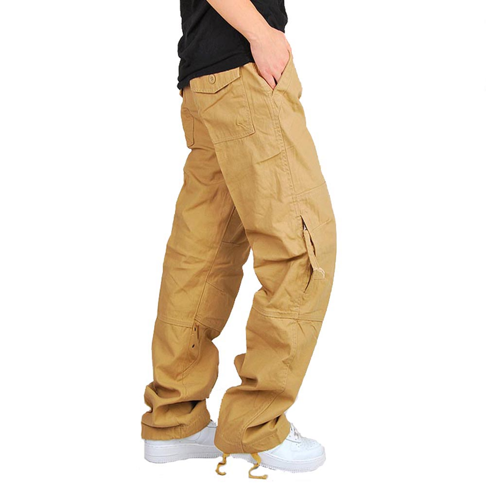 Mens Cargo Pants Casual Pant Baggy Trousers Male Military Tactical With Multi Pockets Thick Warm Loose Fit Plus Size