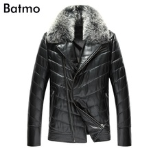 2017 new arrival winter high quality 100% sheepskin zipper Raccoon fur collar down jacket men,Genuine leather thick coat men