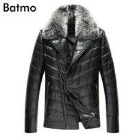 2017 new arrival winter high quality 100% sheepskin zipper Raccoon fur collar down jacket men,Genuine leather thick coat men