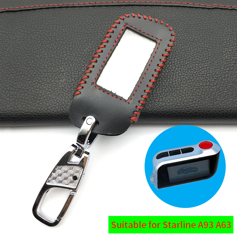 Leather Key Case for Russian Version in Two-Way Car Alarm Remote Control LCD For Starline A93 / A63 Key Fob Cover remote control 029337 replacement car remote control key case for chrysler grey silver