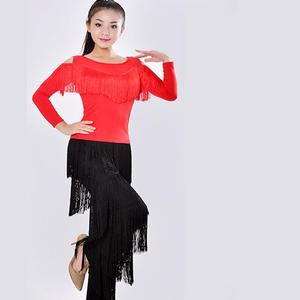 Image 2 - New 2019 Latin Modern Dance Suits Women/girls Sexy Fringes Long Pants Ballroom/tango/rumba/latin Dresses Clothings For Dancer