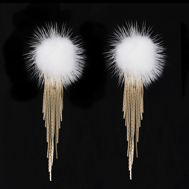 Женская мода Долго Кисточкой Серьги Изысканный Качество Искусственного меха Мяч Мотаться Серьги 4C1006