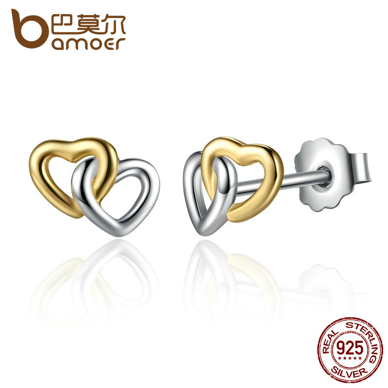 все цены на BAMOER New Arrival 925 Sterling Silver Heart to Heart Small Stud Earrings Women Engagement Jewelry PAS442 онлайн