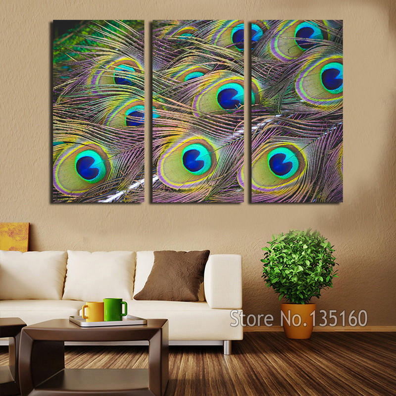 Peacock feather wall art 3 panel decor canvas print large for Large bedroom paintings