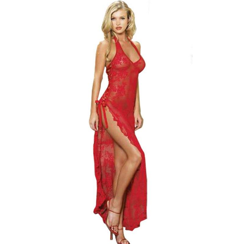 Lace Women Sexy Lingerie Long Dress Sleepwear Plus Size 3XL 4XL Sexy nightgown For Women Nightwear Lady Underwear Lace dress