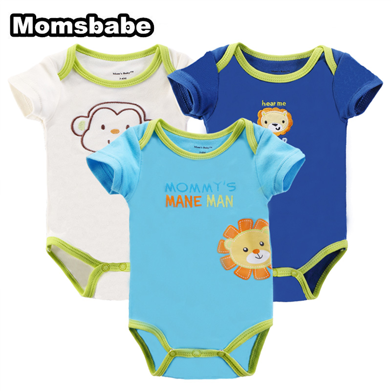 ac3aa8d62 3 Pieces lot Baby Rompers Girl Boy Short Sleeve Summer 100%Cotton ...