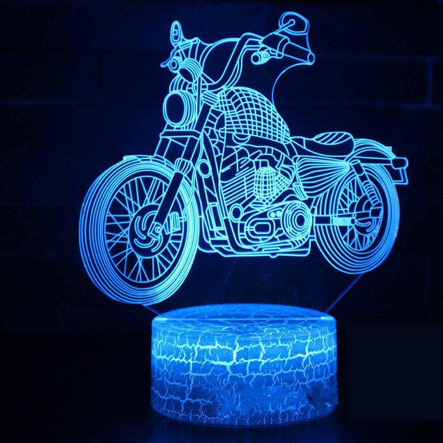 Motorcycle Led 3d Night Light Creative Seven Color Vision 3d Lamp Bedside Christmas decorations gift for baby room lights