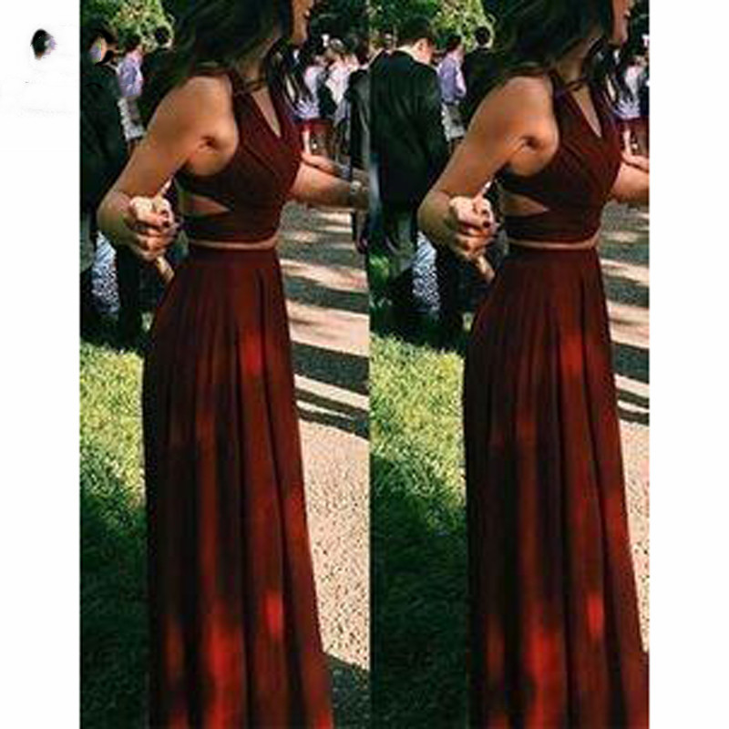 2018 Burgundy Two Pieces Gown Evening Dresses Long Chiffon Sleeveless Prom dress robe de soiree Formal Evening Dress for Women in Evening Dresses from Weddings Events