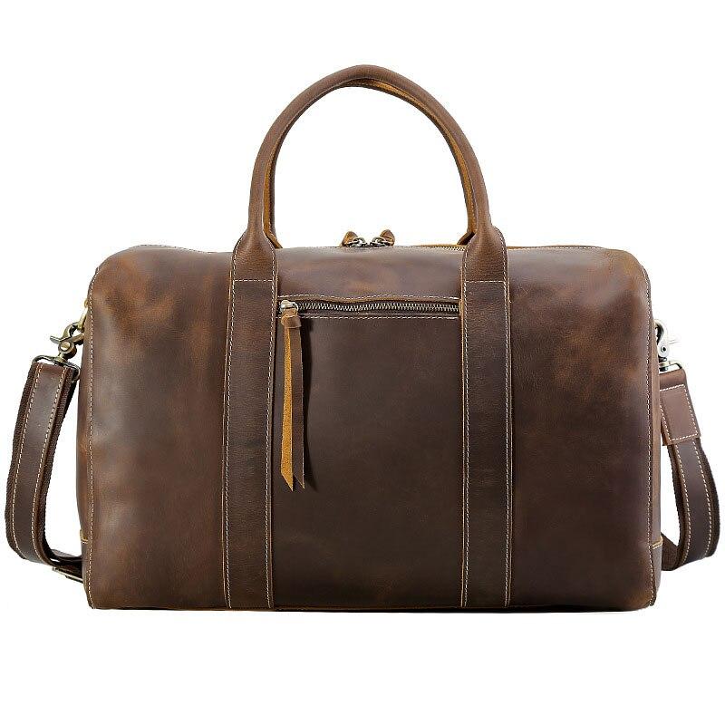 2018 New Fashion Grain Genuine Leather Travel Large Vintage Bag Men's Leather Luggage Travel Bag Multi-Function Full Quality Bag