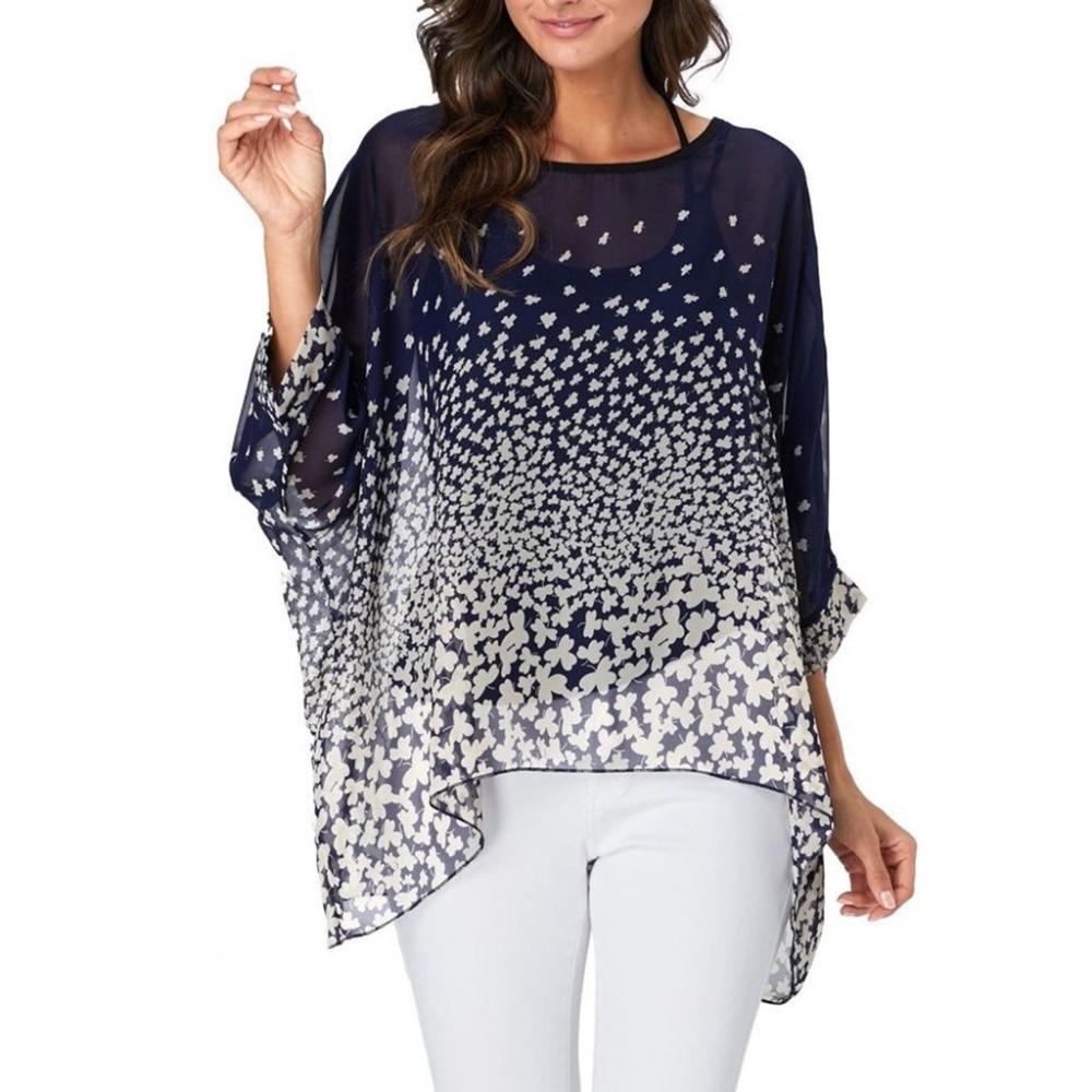 73c87be10a1 О-образным вырезом три четверти рукав печати шифон Свободная блузка женская  летняя Печать шифон свободная накидка рубашка Топы пляжная блу.